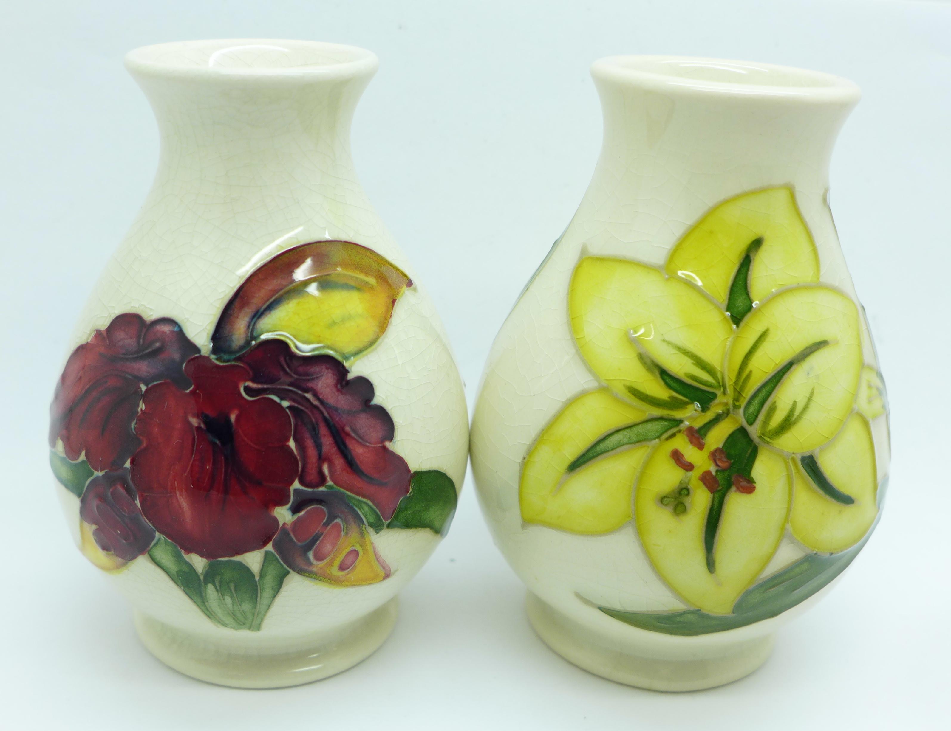 Two Moorcroft vases, crazed, 92mm, (57,58) - Image 2 of 7