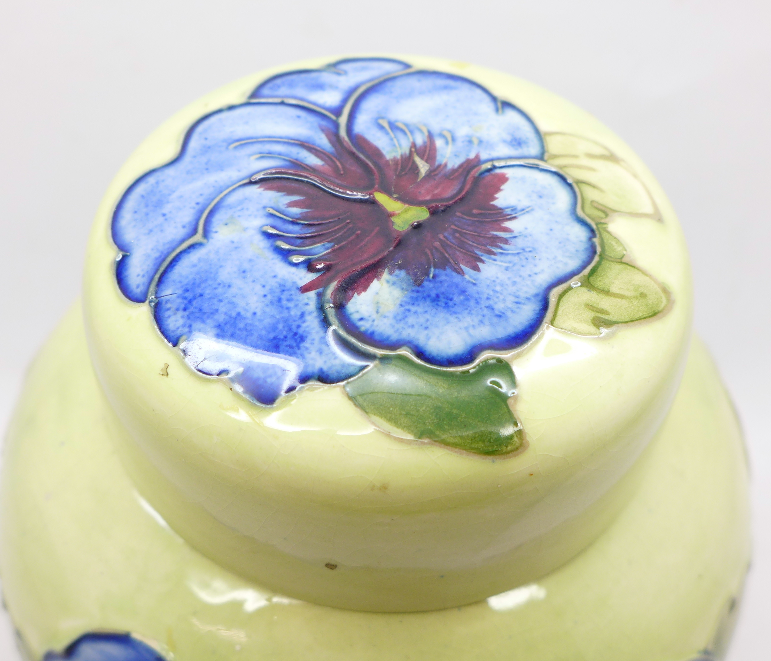 A Moorcroft pansy ginger jar, with red paper label, label a/f, 14cm - Image 2 of 8