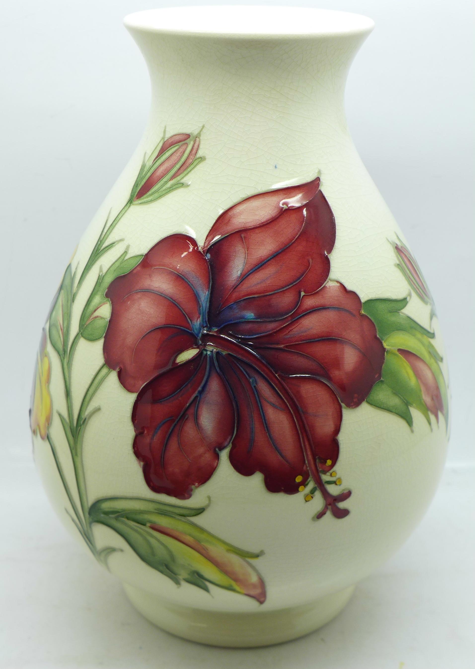 A Moorcroft hibiscus vase, crazed, 20.5cm - Image 2 of 6