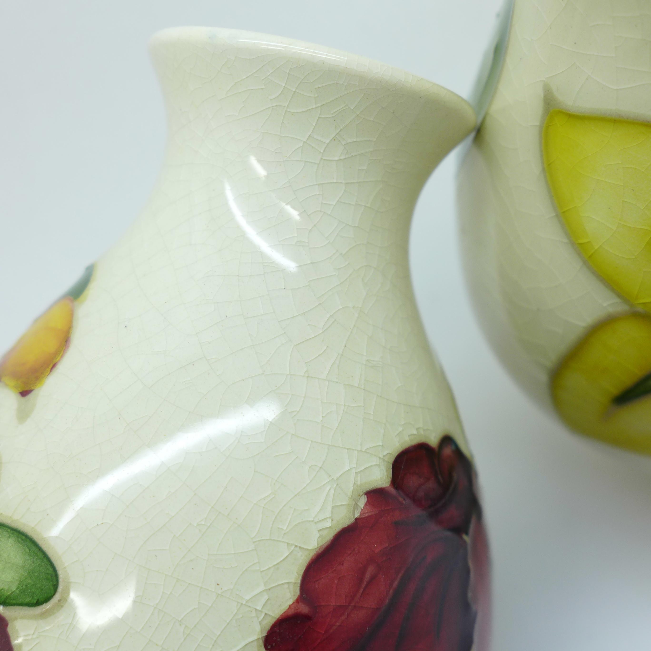 Two Moorcroft vases, crazed, 92mm, (57,58) - Image 5 of 7