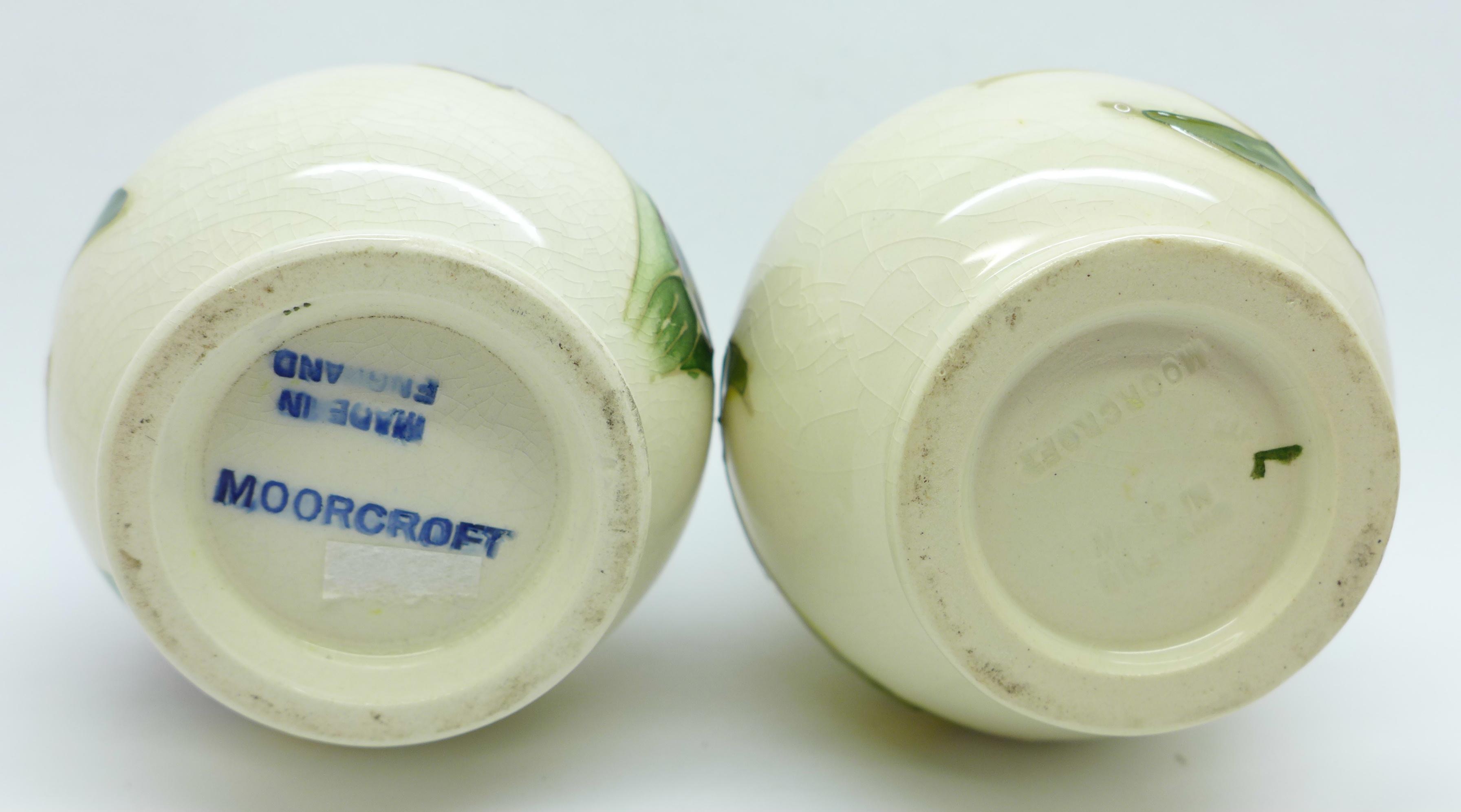 Two Moorcroft vases, crazed, 92mm, (57,58) - Image 6 of 7