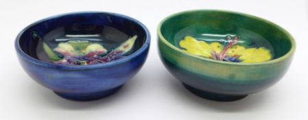 Two small Moorcroft bowls, orchid and hibiscus, 76mm and 79mm diameter, (158,171)