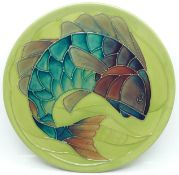 A Moorcroft Limited Edition Year Plate 1989, fish design, 212/250, no box, 218mm