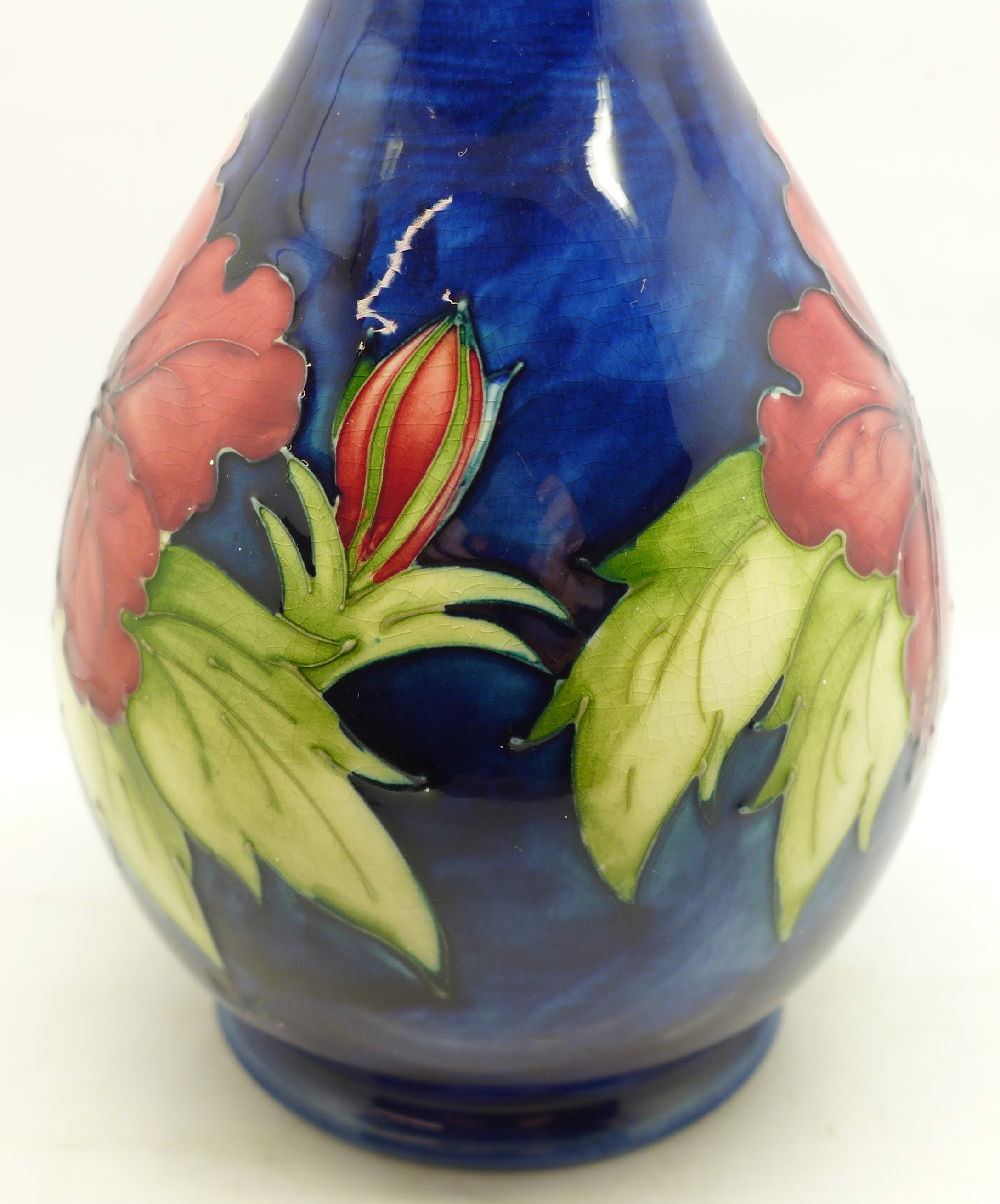 A Moorcroft hibiscus table lamp base, 27cm - Image 4 of 7