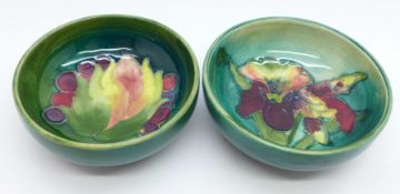 Two small Moorcroft bowls, Leaves and Fruit and orchid, 8cm diameter, (159,162)