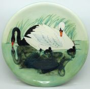 A Moorcroft Limited Edition Swan design plate, 153/350, 257mm