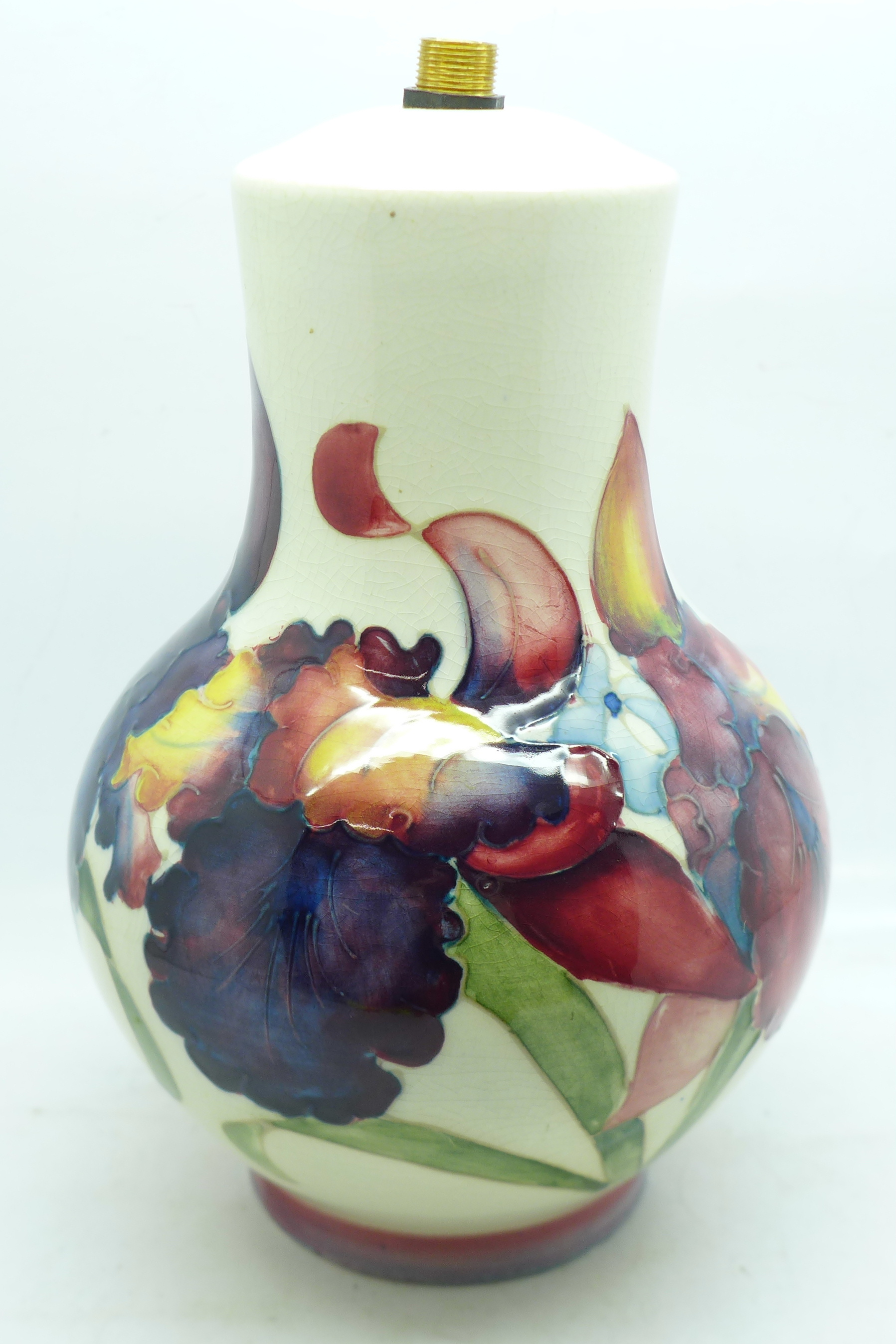 A Moorcroft orchid table lamp base, 17.5cm - Image 3 of 7