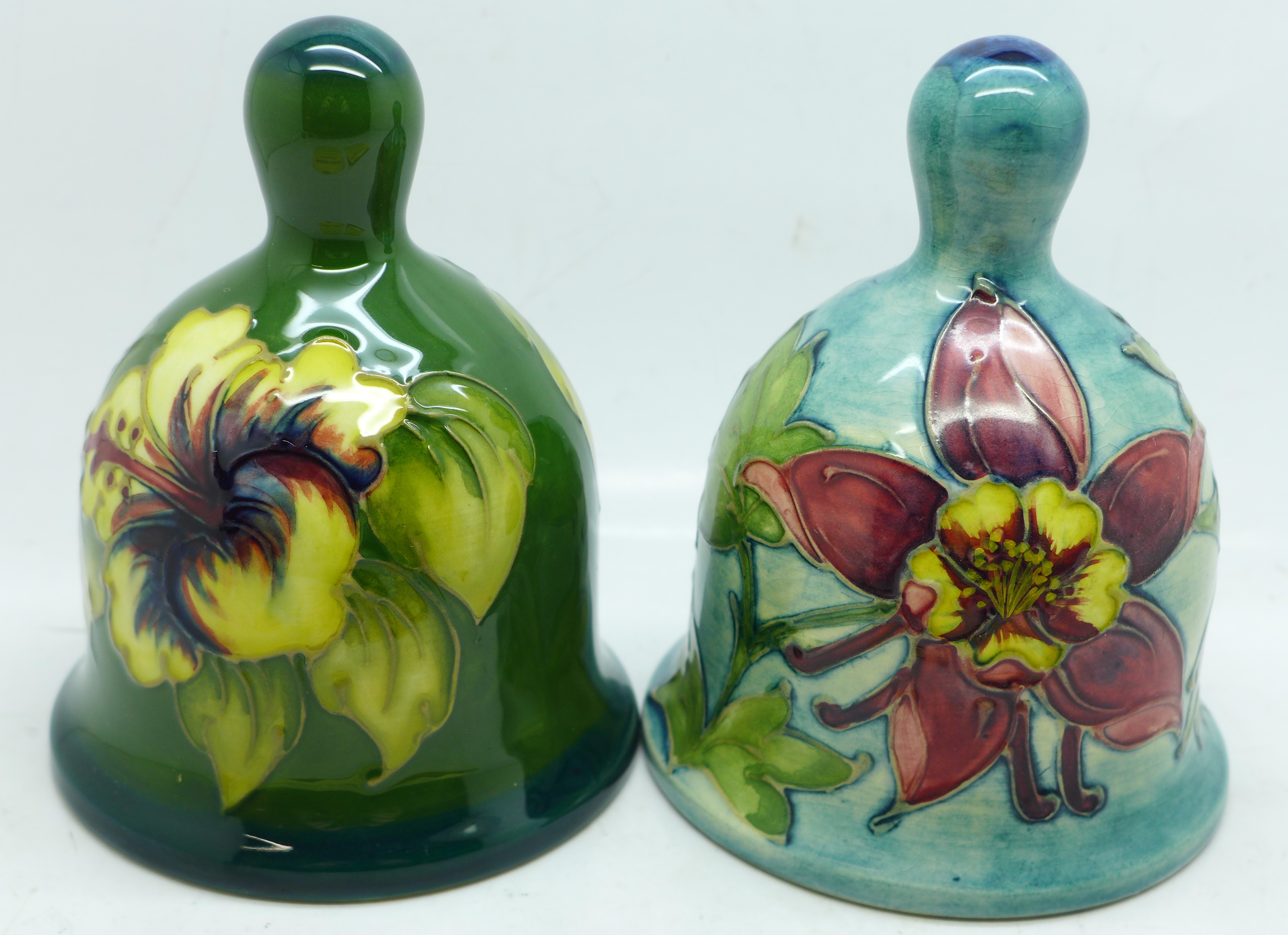 Two Moorcroft bells, hibiscus and Columbine 1984, boxed, (99, 180) - Image 4 of 8