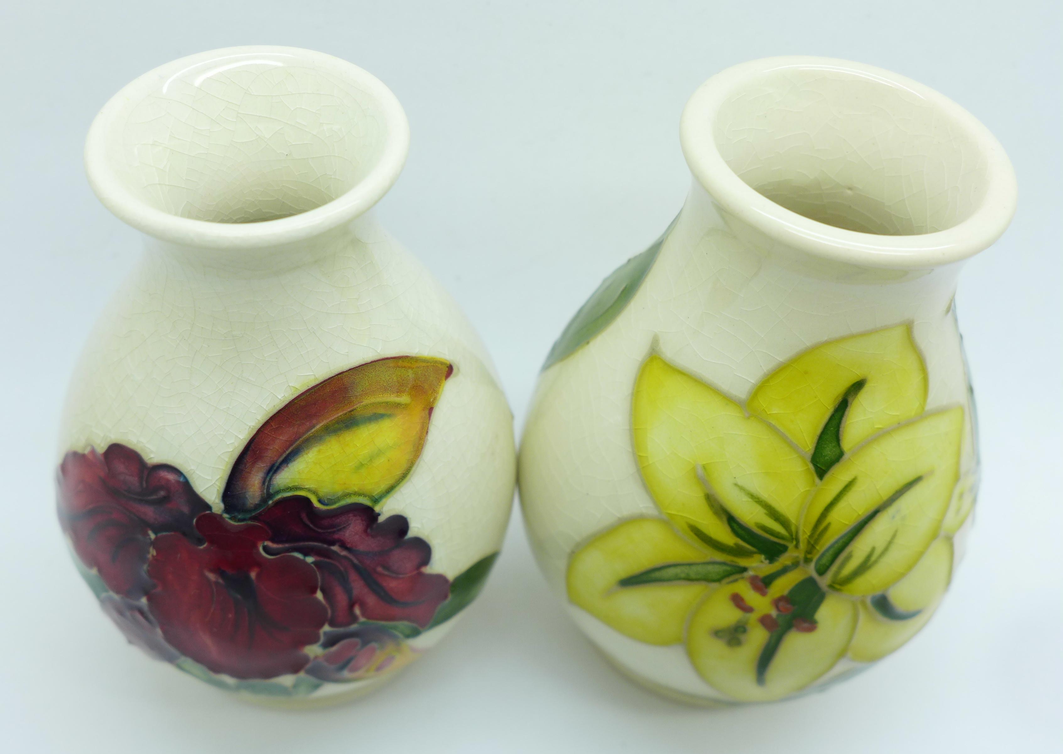 Two Moorcroft vases, crazed, 92mm, (57,58) - Image 3 of 7