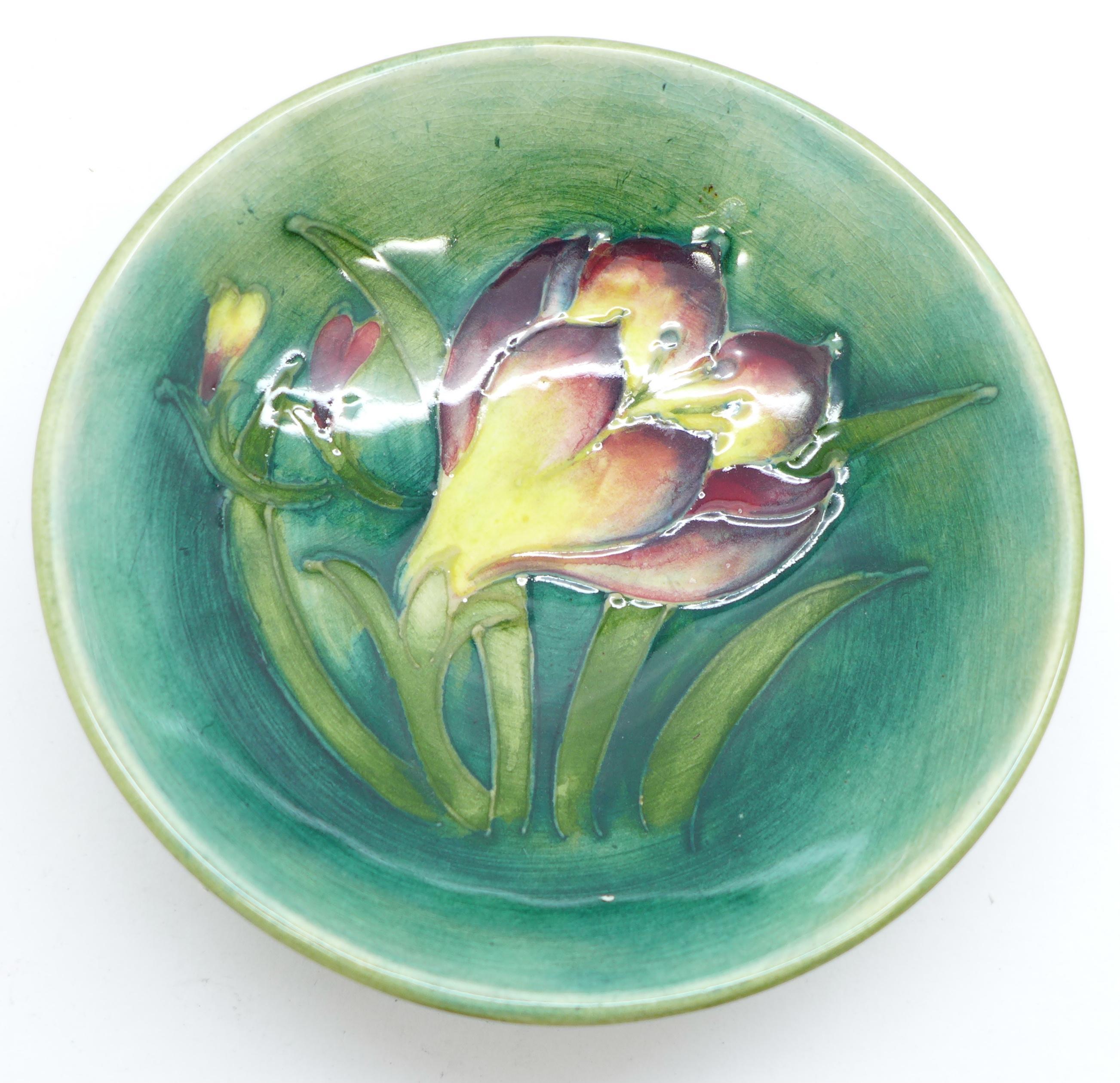 A Moorcroft freesia dish, 108mm diameter - Image 2 of 3