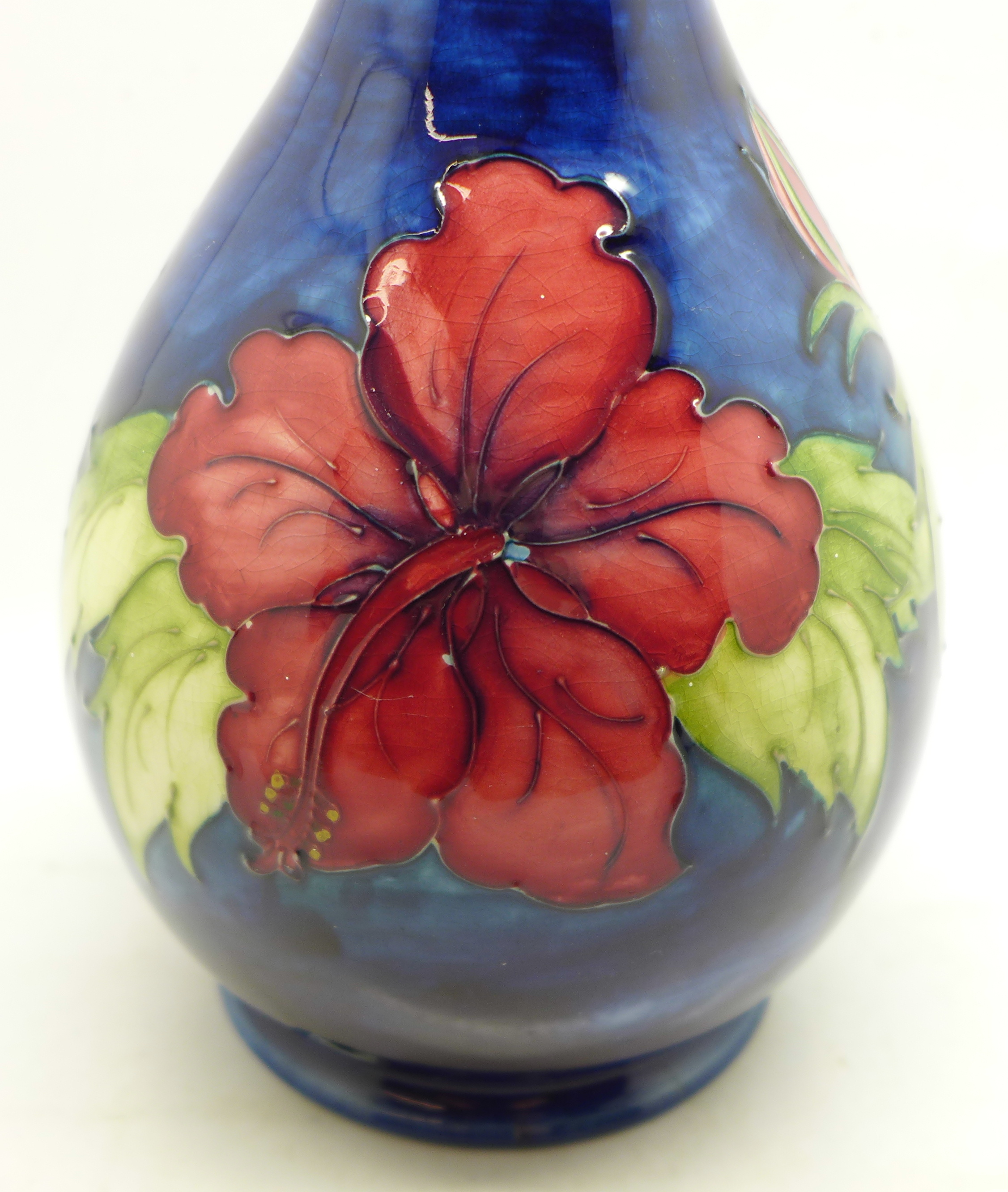 A Moorcroft hibiscus table lamp base, 27cm - Image 5 of 7