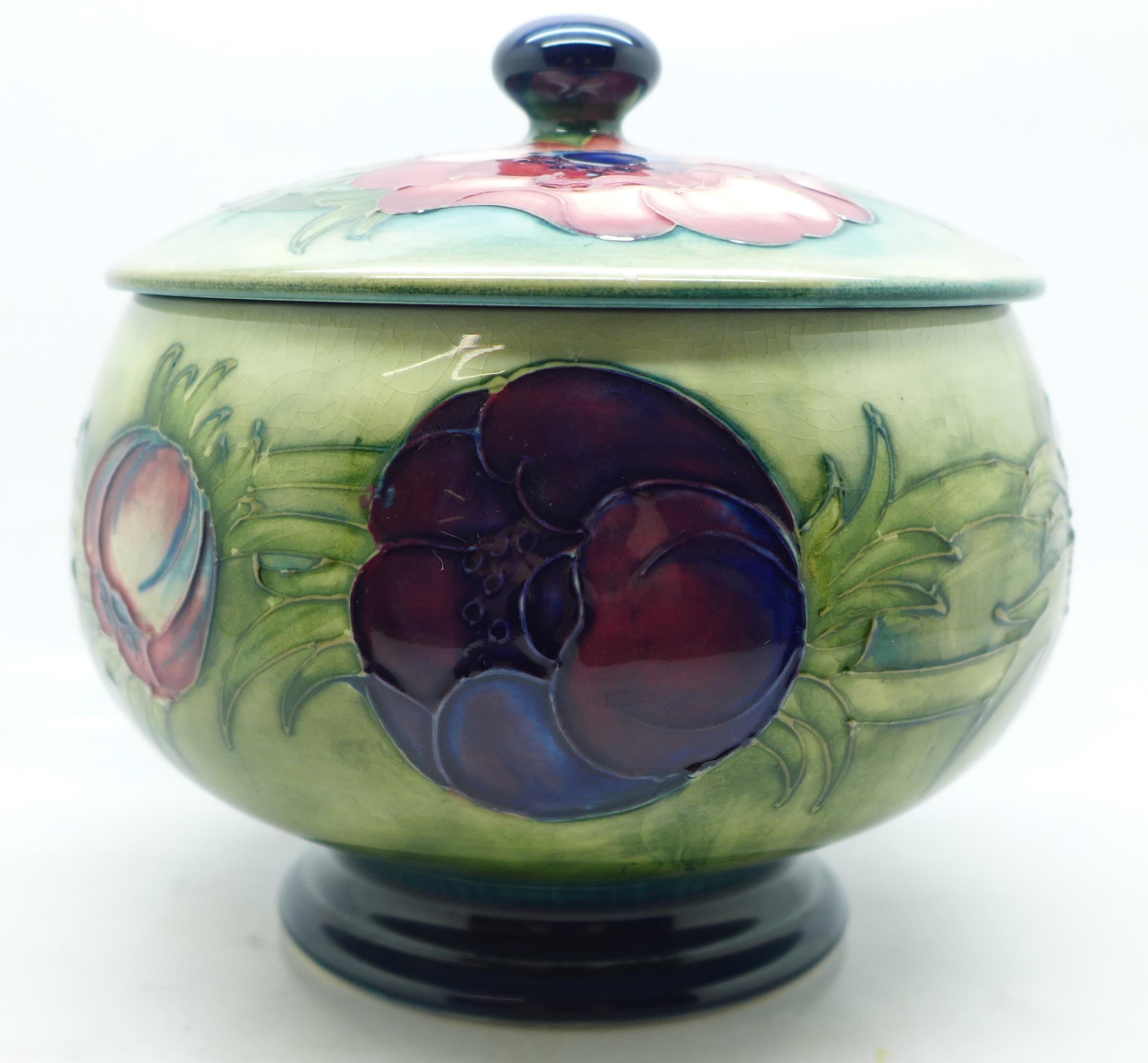 A Moorcroft anemone lidded pot, 12.5cm diameter - Image 2 of 8