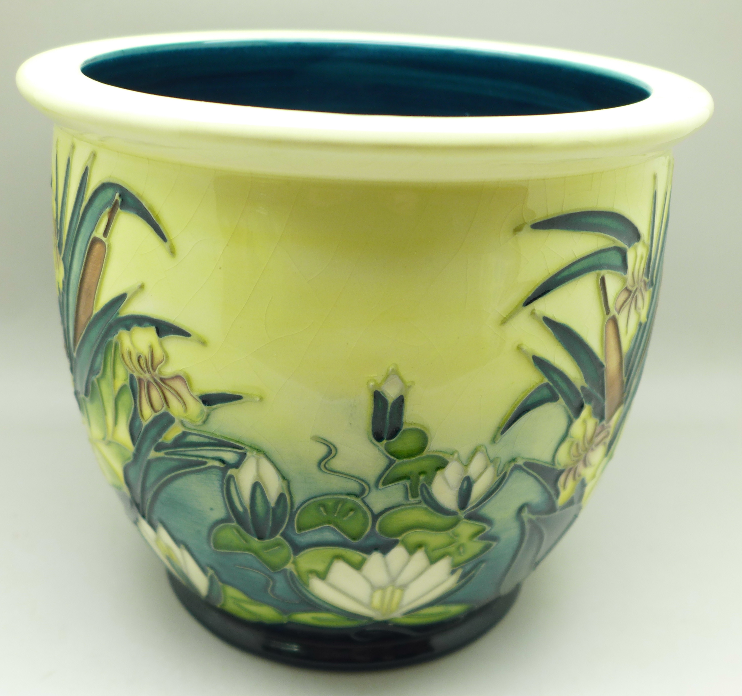 A Moorcroft bullrush planter, AB, 1995, 16.5cm, crazed - Image 3 of 6