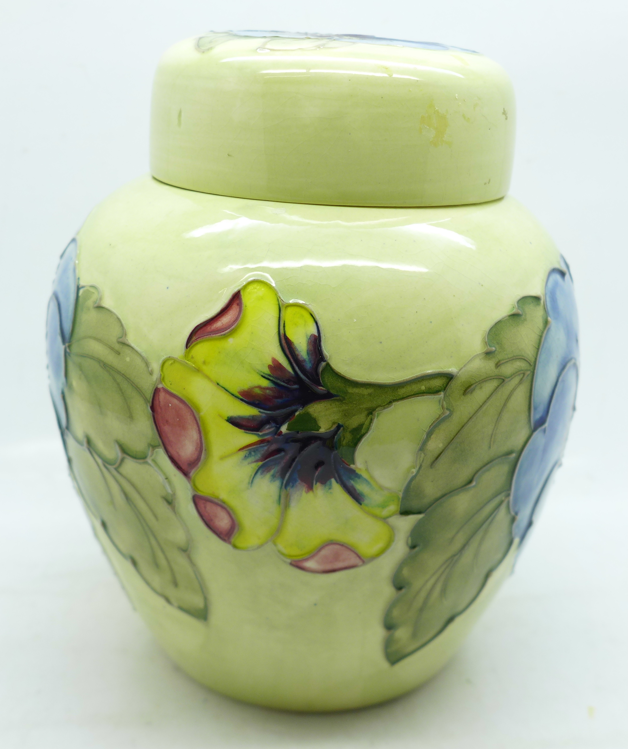 A Moorcroft pansy ginger jar, with red paper label, label a/f, 14cm - Image 3 of 8