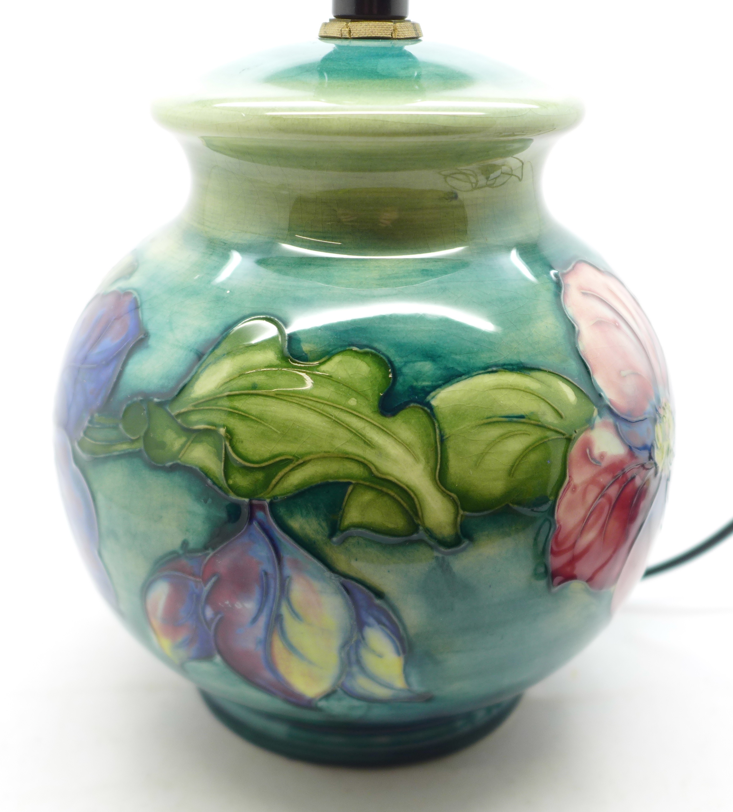 A Moorcroft clematis table lamp base, 15cm - Image 2 of 7