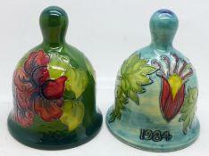 Two Moorcroft bells, hibiscus and Columbine 1984, boxed, (99, 180)