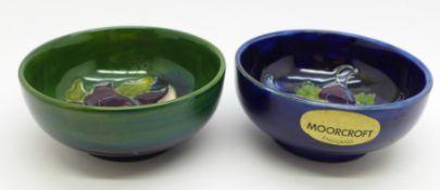Two Moorcroft dishes, 8cm diameter, (165,168)