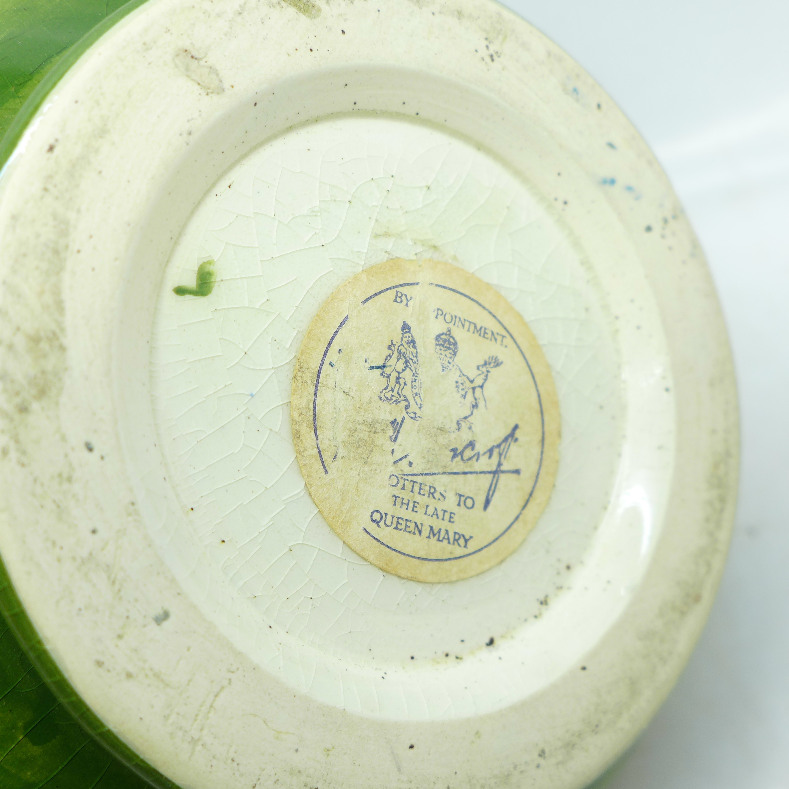 A Moorcroft anemone squat vase, with paper label, Late Queen Mary, 10cm - Image 5 of 7