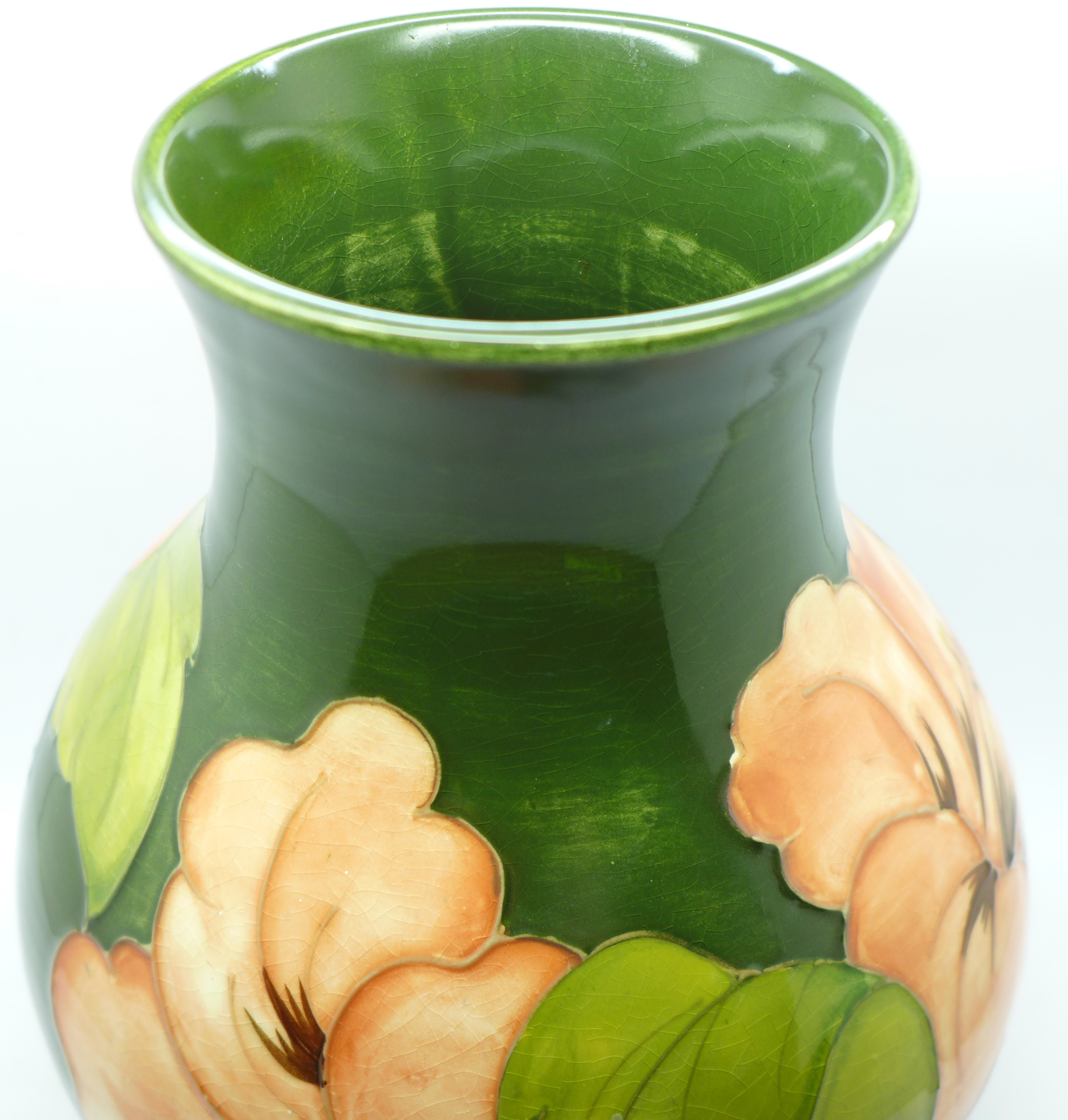 A Moorcroft hibiscus vase, signed and with 1972 Centenary mark to the base, 23cm - Image 5 of 8