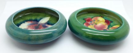 Two Moorcroft dishes, freesia and orchid, 11cm and 10.5cm, (142,146)