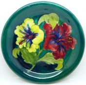 A Moorcroft hibiscus plate, with paper label, Late Queen Mary, 218mm