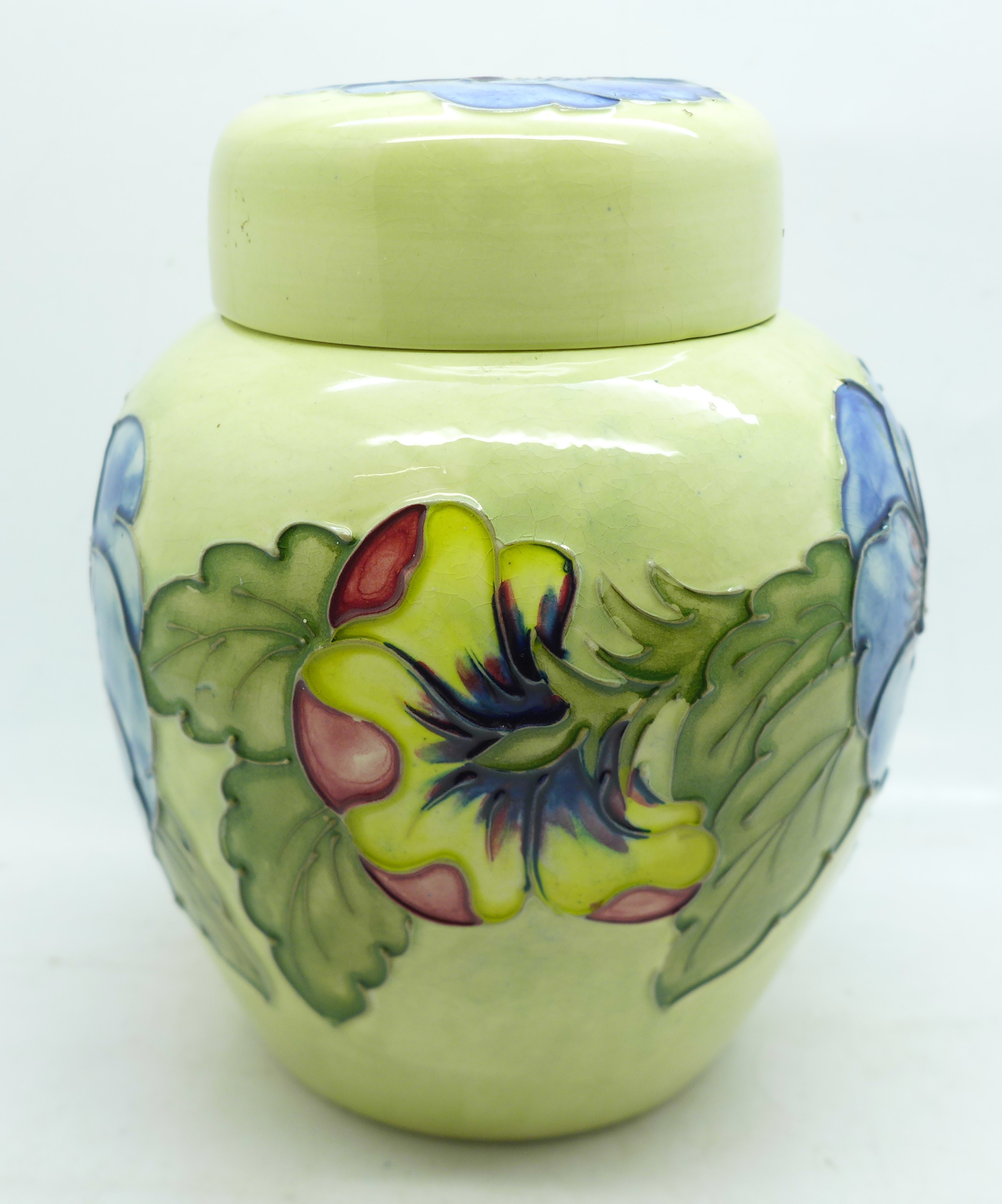 A Moorcroft pansy ginger jar, with red paper label, label a/f, 14cm - Image 5 of 8