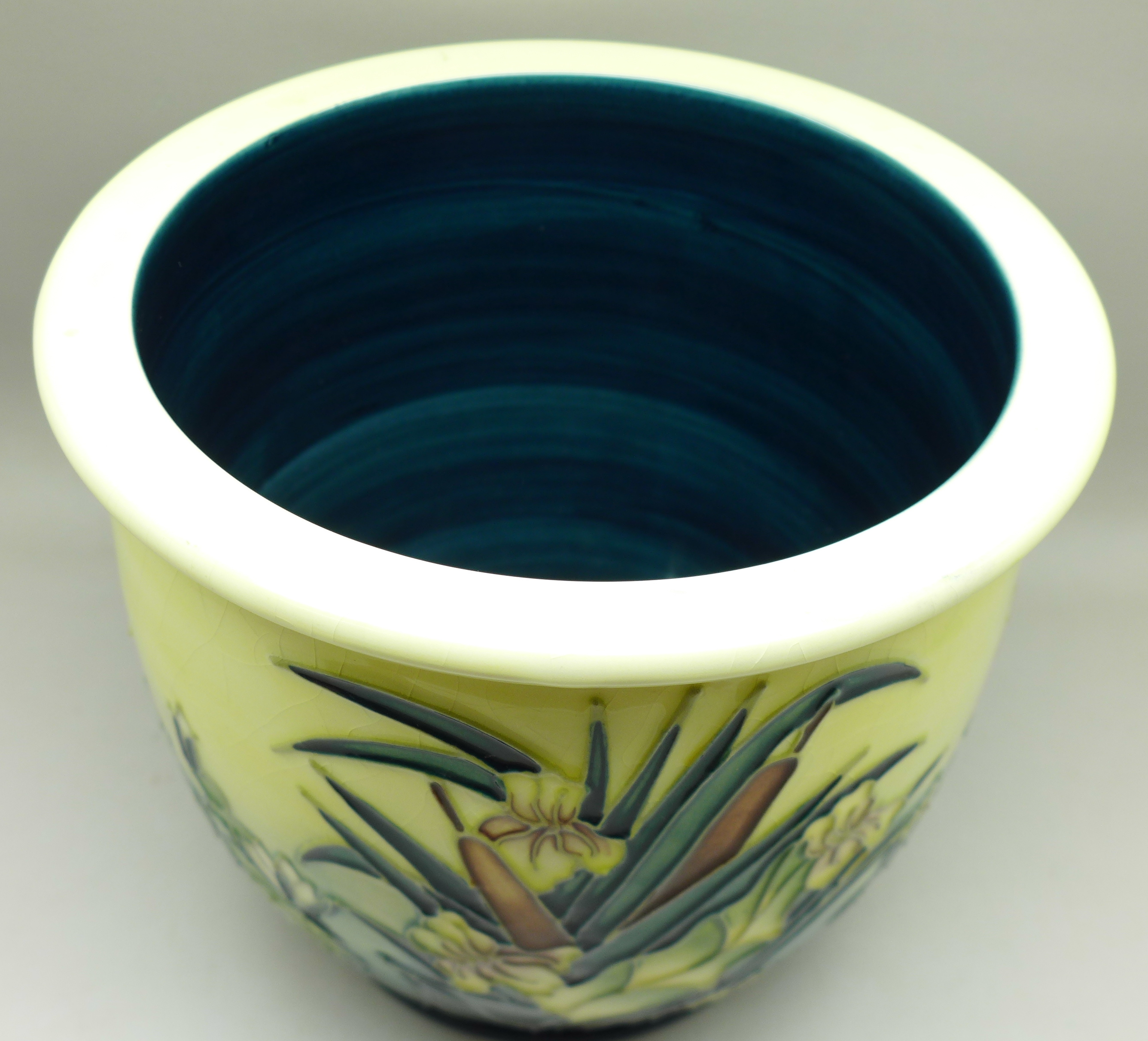 A Moorcroft bullrush planter, AB, 1995, 16.5cm, crazed - Image 2 of 6