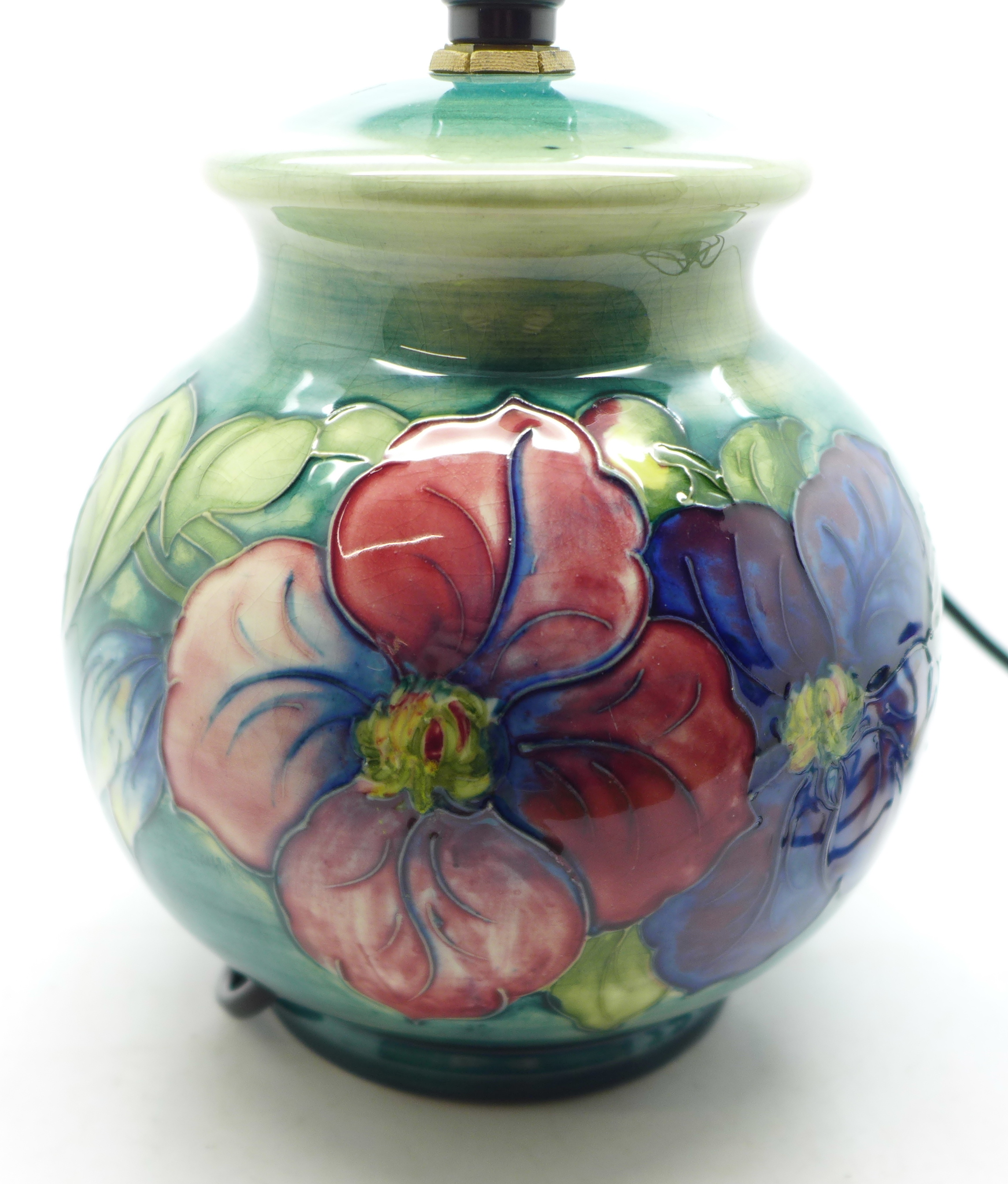 A Moorcroft clematis table lamp base, 15cm - Image 3 of 7