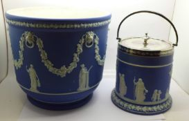 A Wedgwood Jasperware jardiniere and biscuit barrel with plated top, jardiniere diameter 23.5cm