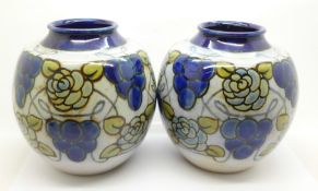 A pair of Royal Doulton stoneware vases, 14cm
