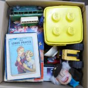 A box of mixed toys including Lego 040 set (1970's), Minic Toys coach, a/f, Duplo, Fisher Price