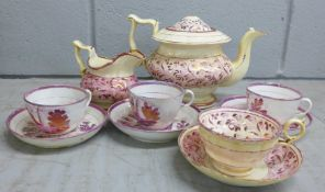 A Sunderland lustre part tea set, a/f