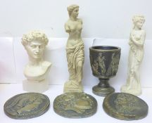 A Roman bust, two other Roman statues, a resin goblet and three resin plaques