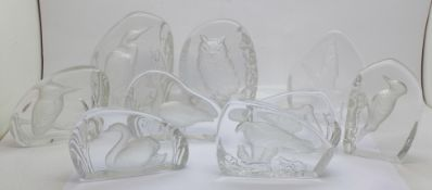 Nine Wedgwood crystal glass bird paperweights