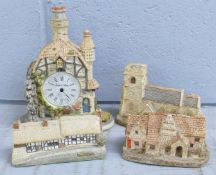 A box of Lilliput Lane cottages and The Water Mill Clock, clock a/f(14)
