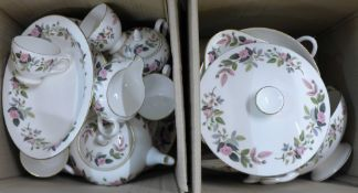 Wedgwood Hathaway Rose tea and dinnerwares (2 boxes, 54 pieces)