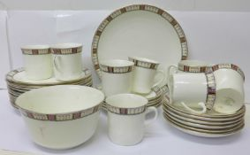 Gladstone china tea ware, two cups cracked, other small chips