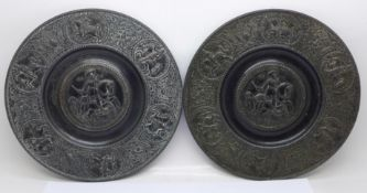 A pair of Coalbrookdale style metal plaques, 19.5cm