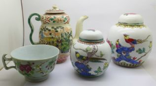 Two Chinese ginger jars with contents, a Chinese teapot and a Celadon cup, (teapot crazed, cup