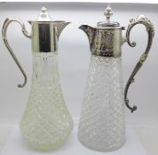 Two claret jugs with plated tops, (one with cracked glass, jug on the right in the image)