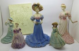 Five Coalport figures and a Coalport brochure
