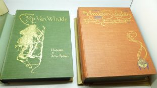 Two volumes, Stories from The Arabian Nights, with Drawings by Edmund Dulac; and Rip Van Winkle,