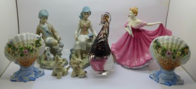 A Royal Doulton figure, Elaine, two Spanish Casades figures, a Wedgwood glass model of a duck, two