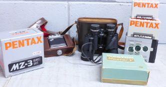 A Pentax MZ-3 camera, two lenses; 43mm F1.9 and 77mm F1.8, a Weston Master V exposure meter (all