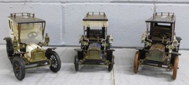 Three Jan Blenken steel vintage motor vehicles, one vehicle missing tyres