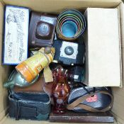 A vintage Pifco hair dryer, boxed, a rosewood workbox, a Boots 'Perfect' feeding bottle, boxed, a