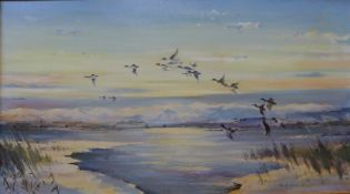 Ron Humphries, winter lake scene with ducks in flight, oil on canvas, 50 x 90cms, framed