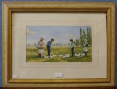 James H. Tyther, Feeding The Ducks, pastel, unsigned, 20 x 37cms, framed