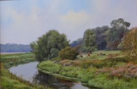 Peter Barker (b.1954), rural landscape with cows resting by a stream, oil on canvas, 40 x 60cms,
