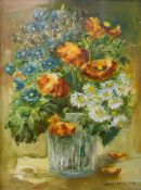 Anna Lampe (Polish), still life of flowers in a vase, oil on canvas, 38cms x 29cms, framed